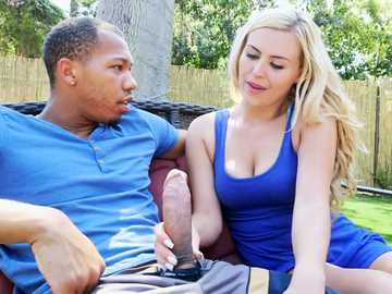 Lonely blonde Summer Day jerks big black cock in interracial outdoor scene