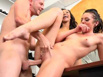 High heels store hosts interracial threesome by Megan Sage and Adrian Maya