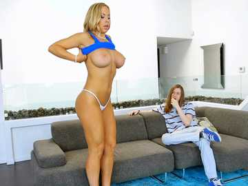 Fake-busted Olivia Austin drops her blue dress on floor and sucks dick of long-haired man
