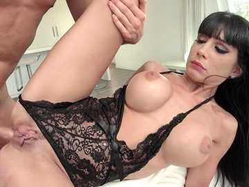 Brunette with thick butt and plump fake tits Valentina Ricci gets anus rampaged