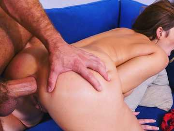 Big ass brunette Natasha Nice gets her cunny banged on the blue couch